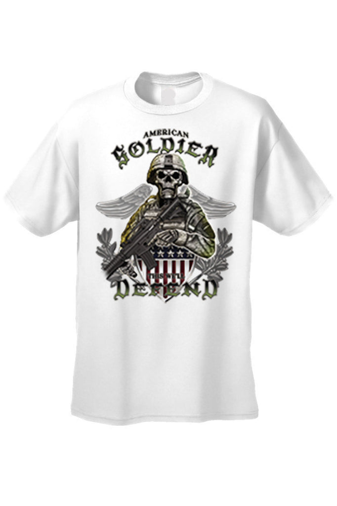 Men's T Shirt American Soldier Short Sleeve Tee Mens T-Shirts SHORE TRENDZ WHITE SMALL