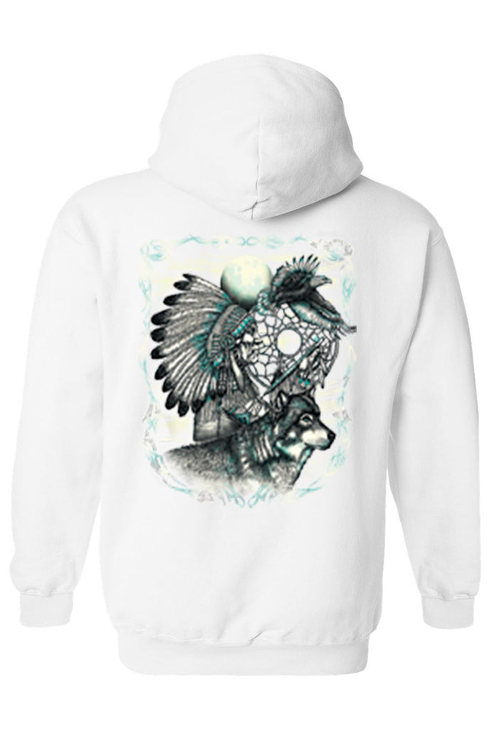 Men's/Unisex Zip-Up Hoodie Indian Dreamcatcher With Wolf Mens Zip Up Hoodies SHORE TRENDZ WHITE SMALL