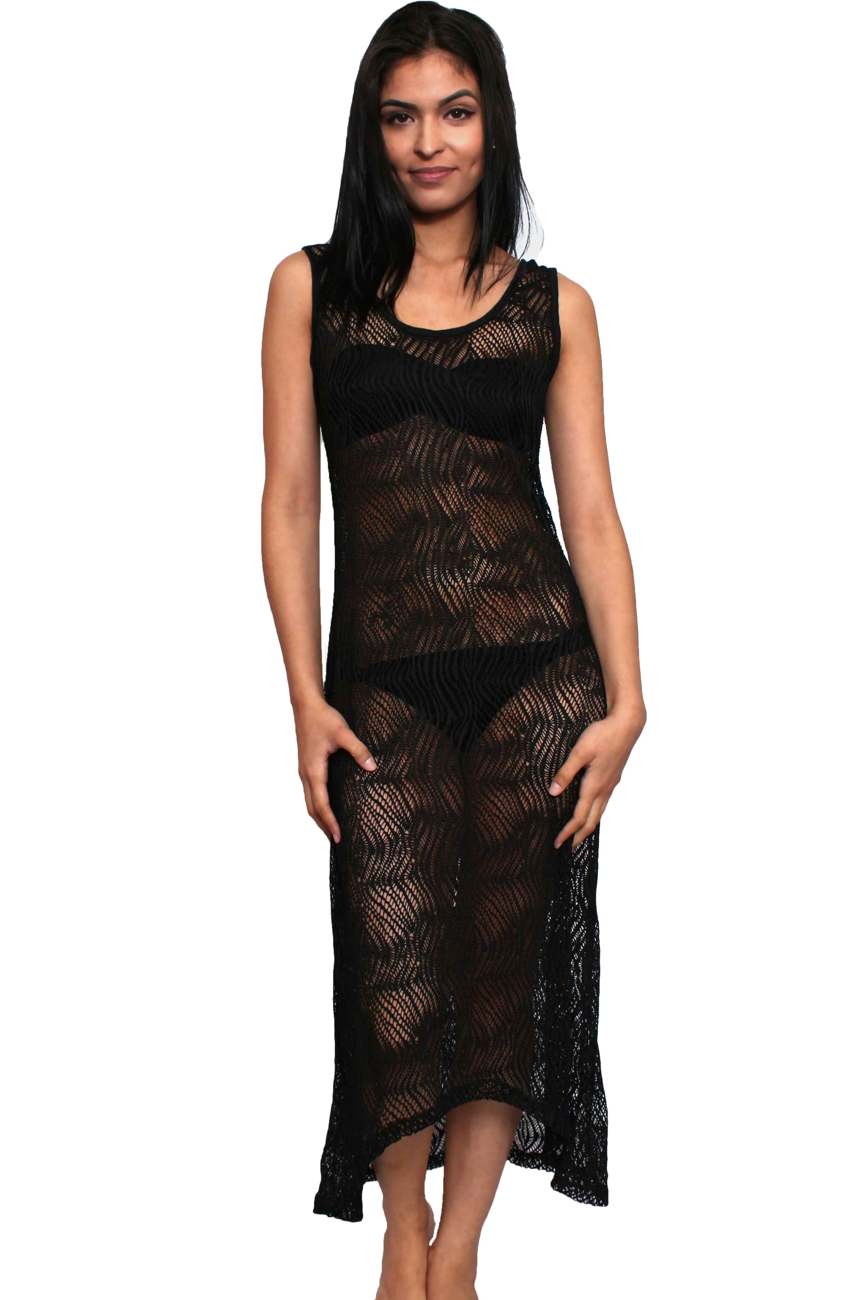 a484261ee8 Women's Juniors Sheer Crochet Long Beach Dress Cover up Made in the US -  SHORETRENDZ