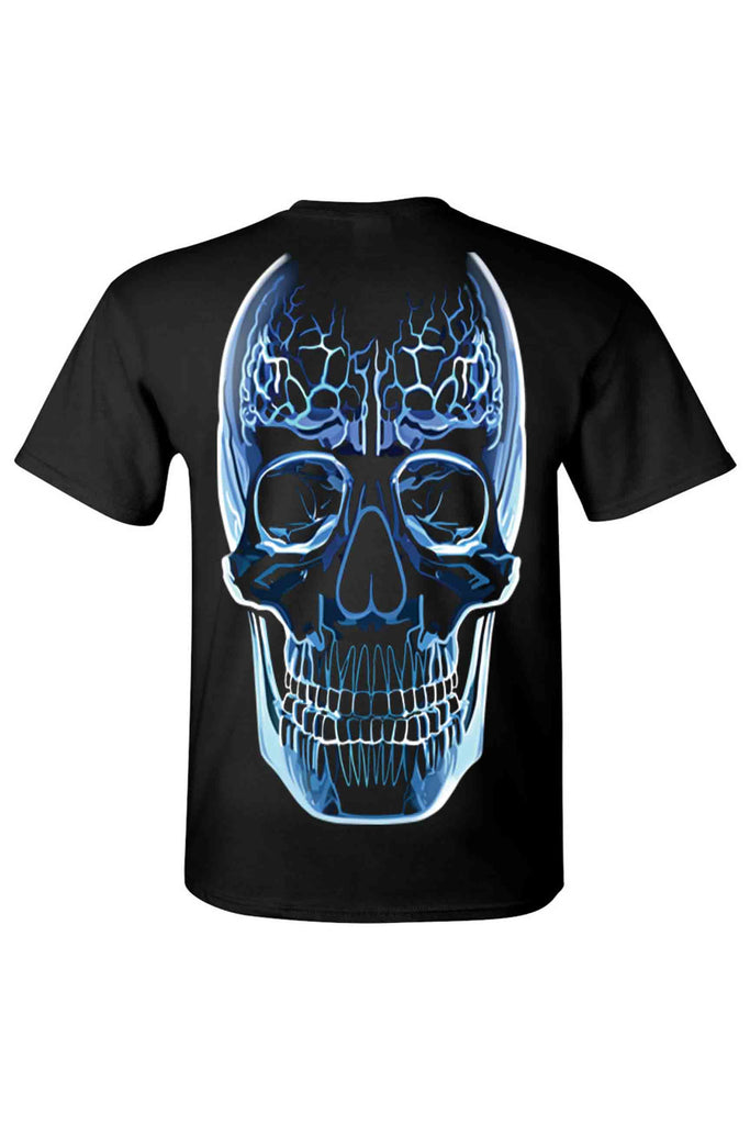 Men's T Shirt Blue Glass Skull Oversized Graphic Tee