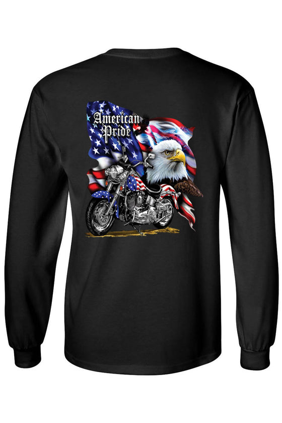 Unisex Long Sleeve Shirt USA Flag American Pride Motorcycle