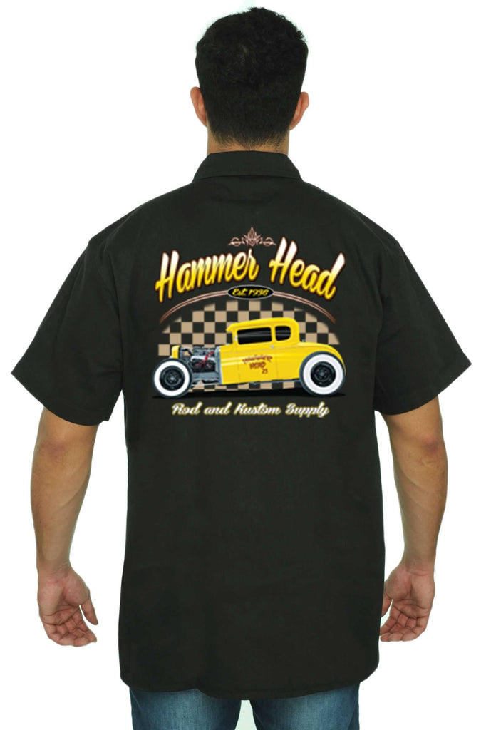 Men's Mechanic Work Shirt Hammer head Rod & Kustom Supply Mechanic Work Shirts SHORE TRENDZ BLACK 3XL