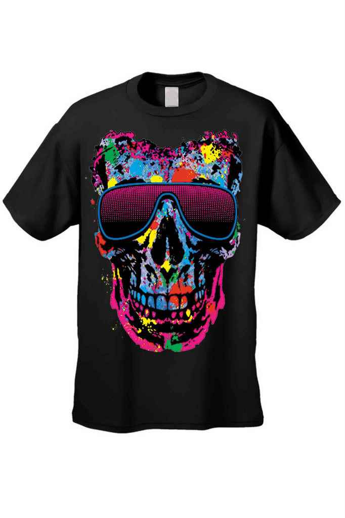 Men's/Unisex T Shirt Colorful Skull w/ Shades Short Sleeve Tee