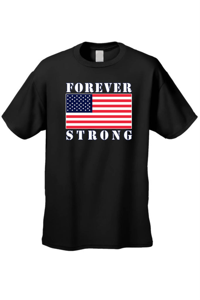 USA Flag T Shirt Men's Forever Strong Short Sleeve Tee