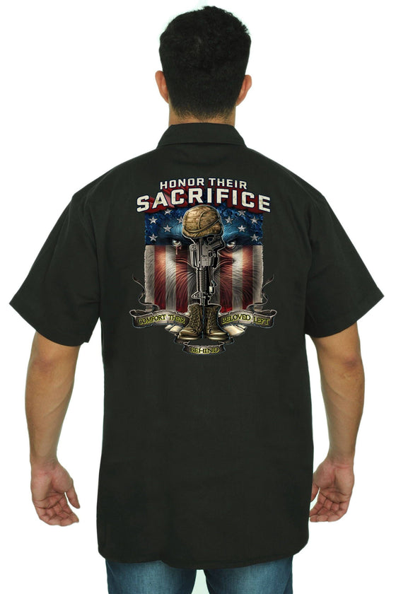 Men's Mechanic Work Shirt Honor Their Sacrifice Mechanic Work Shirts SHORE TRENDZ BLACK 3XL