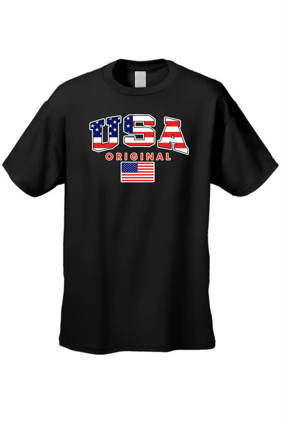 USA Flag T Shirt Men's Original American Short Sleeve Tee