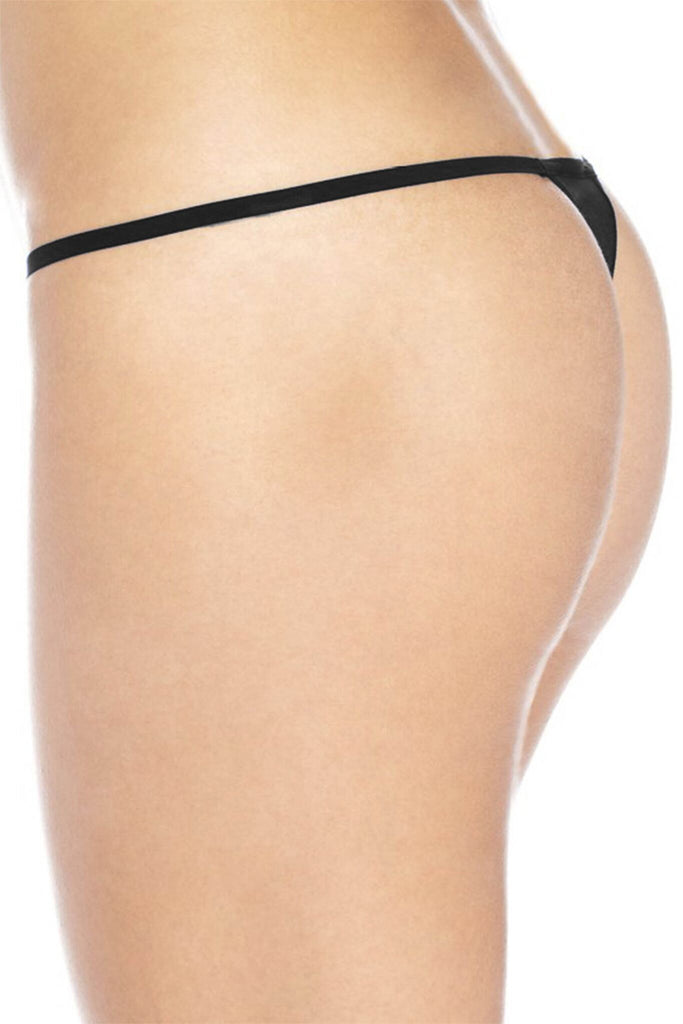 "Sexy Funny  Women's Made in USA Black Thong G-string: BLUE ""OPEN 24 HRS"""