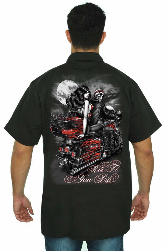 Men's Mechanic Work Shirt Ride Till You Die Skeleton Biker Mechanic Work Shirts SHORE TRENDZ BLACK 3XL