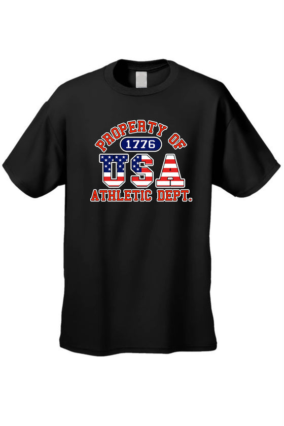 USA Flag T Shirt Men's Property of Athletic Dept. Short Sleeve Tee