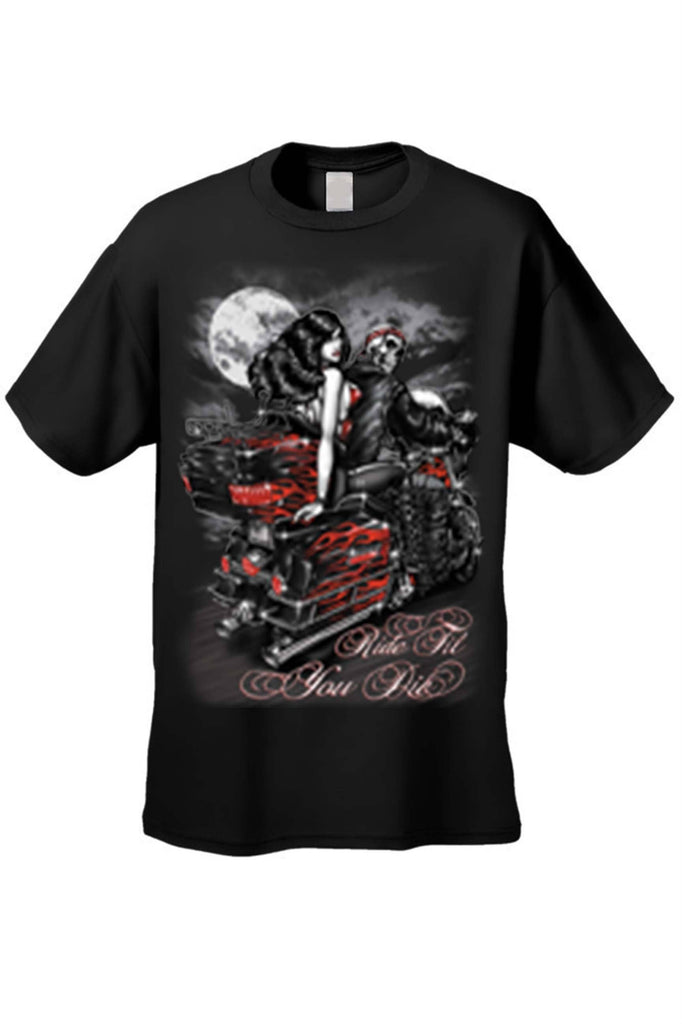 Men's/Unisex Ride Til You Die BIker Style Short Sleeve T-shirt Mens T-Shirts SHORE TRENDZ BLACK 3XL