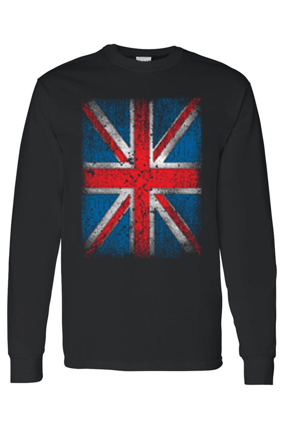 Men's/Unisex Distressed British Flag Pride Long Sleeve T-shirt Mens Long Sleeve Shirts SHORE TRENDZ BLACK 3XL