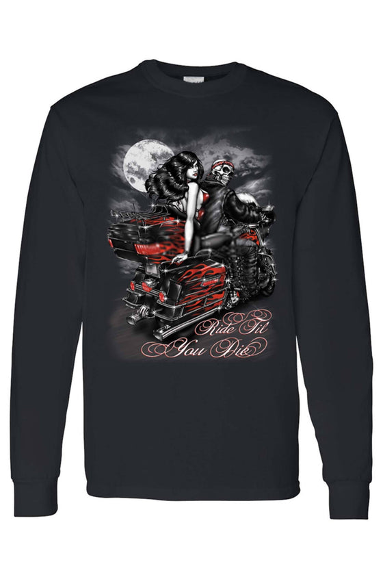 Men's/Unisex Biker Ride Til You Die Long Sleeve T-shirt Mens Long Sleeve Shirts SHORE TRENDZ BLACK 3XL