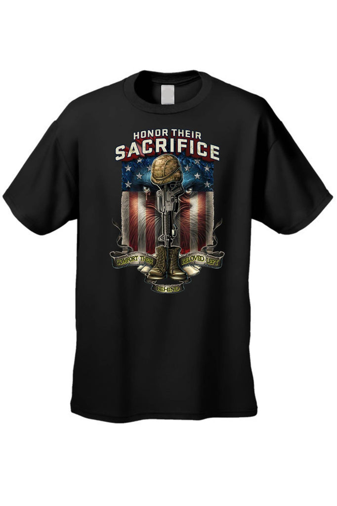 Men's/Unisex T Shirt Honor Their Sacrifice Short Sleeve Tee Mens T-Shirts SHORE TRENDZ BLACK 3XL