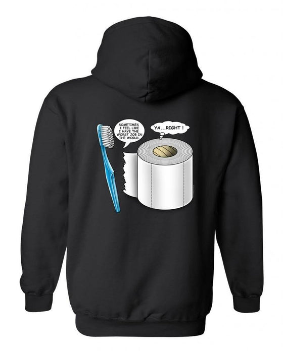 Men's Zip-Up Hoodie Worst Job TOOTHBRUSH/TOILET PAPER WHITE (XXL) Mens Zip Up Hoodies SHORE TRENDZ