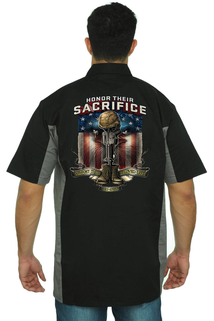 Men's Mechanic Work Shirt Honor Their Sacrifice Mechanic Work Shirts SHORE TRENDZ BLACK/GREY 3XL