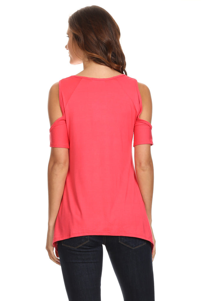 Women's Cold Open Shoulder Short Sleeve Shirt Made in USA