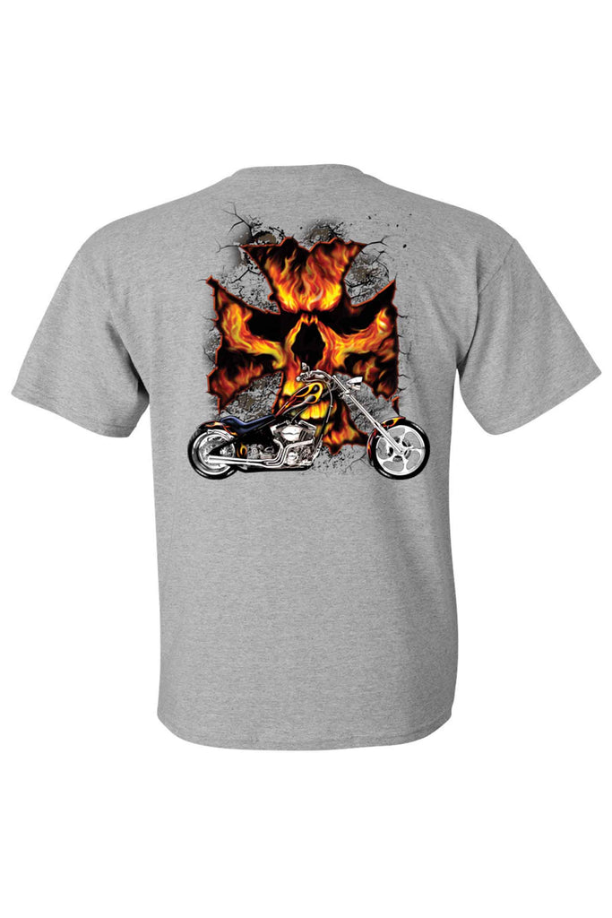 Men's T Shirt Motorcycle Flame Skull Cross Short Sleeve Tee