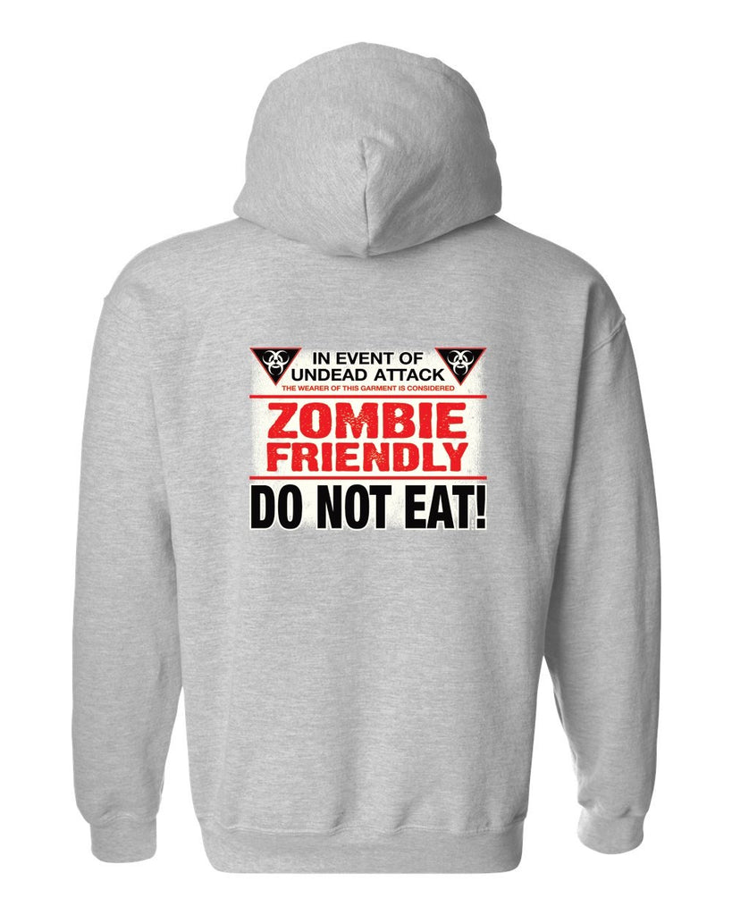 Men's/Unisex Pullover Hoodie Funny Zombie Friendly, Do Not Eat!