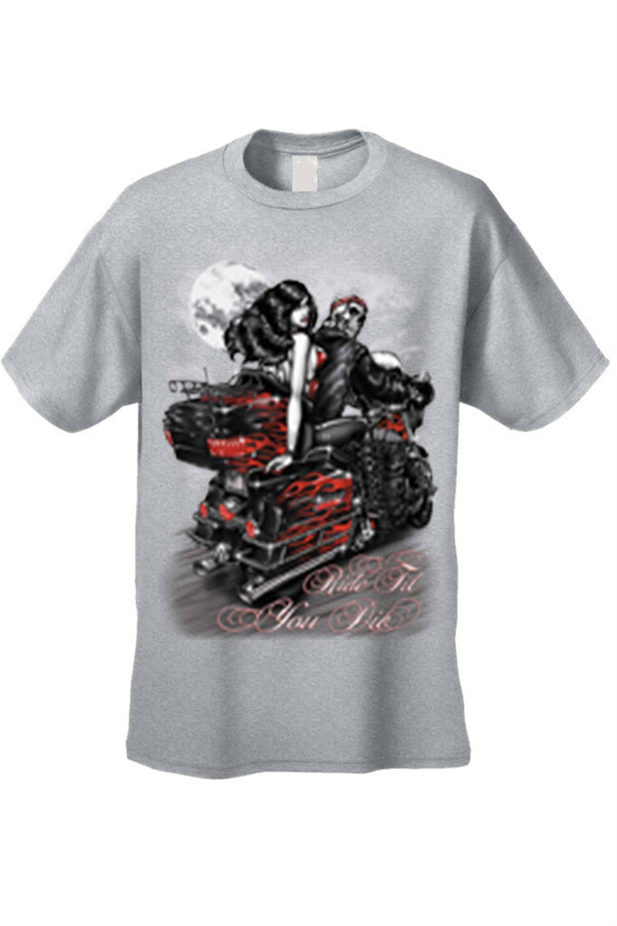 Men's/Unisex Ride Til You Die BIker Style Short Sleeve T-shirt Mens T-Shirts SHORE TRENDZ GREY 3XL