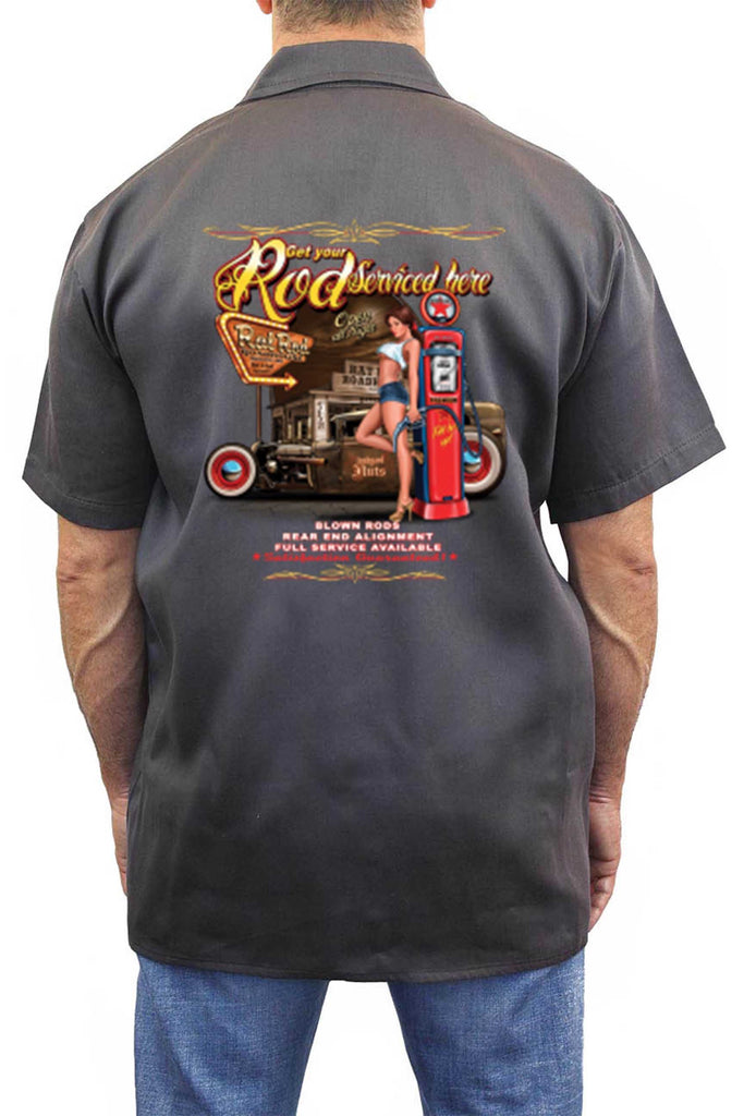 Men's Mechanic Work Shirt Get Your Rod Service Here Rat Rod
