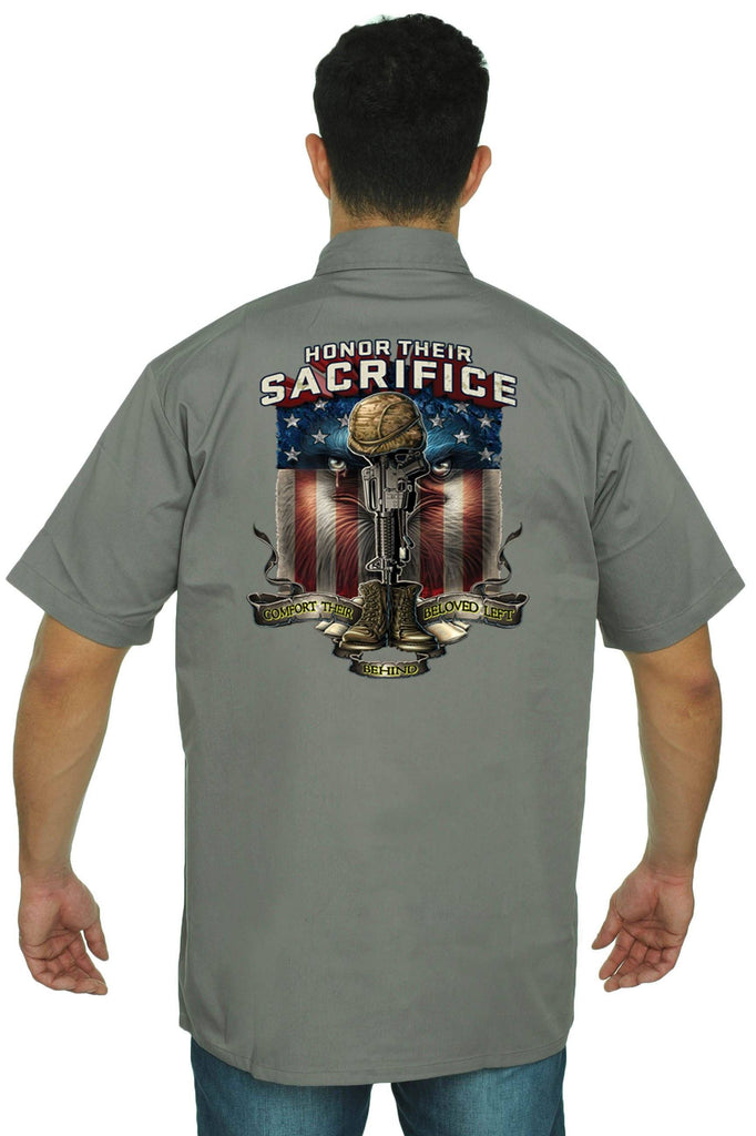 Men's Mechanic Work Shirt Honor Their Sacrifice Mechanic Work Shirts SHORE TRENDZ GREY 3XL