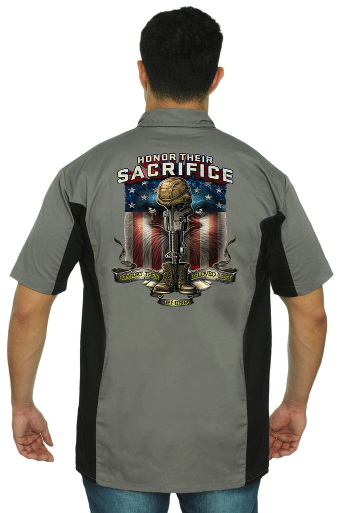 Men's Mechanic Work Shirt Honor Their Sacrifice Mechanic Work Shirts SHORE TRENDZ GREY/BLACK 3XL