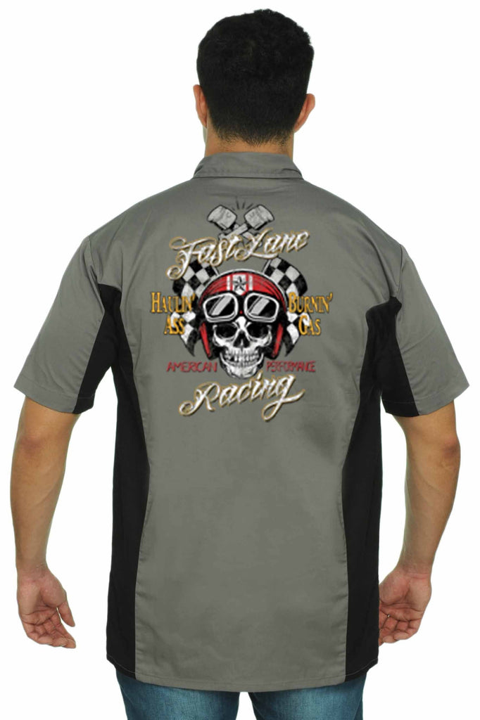 Men's Mechanic Work Shirt Fast Lane American Racing Mechanic Work Shirts SHORE TRENDZ GREY/BLACK 3XL