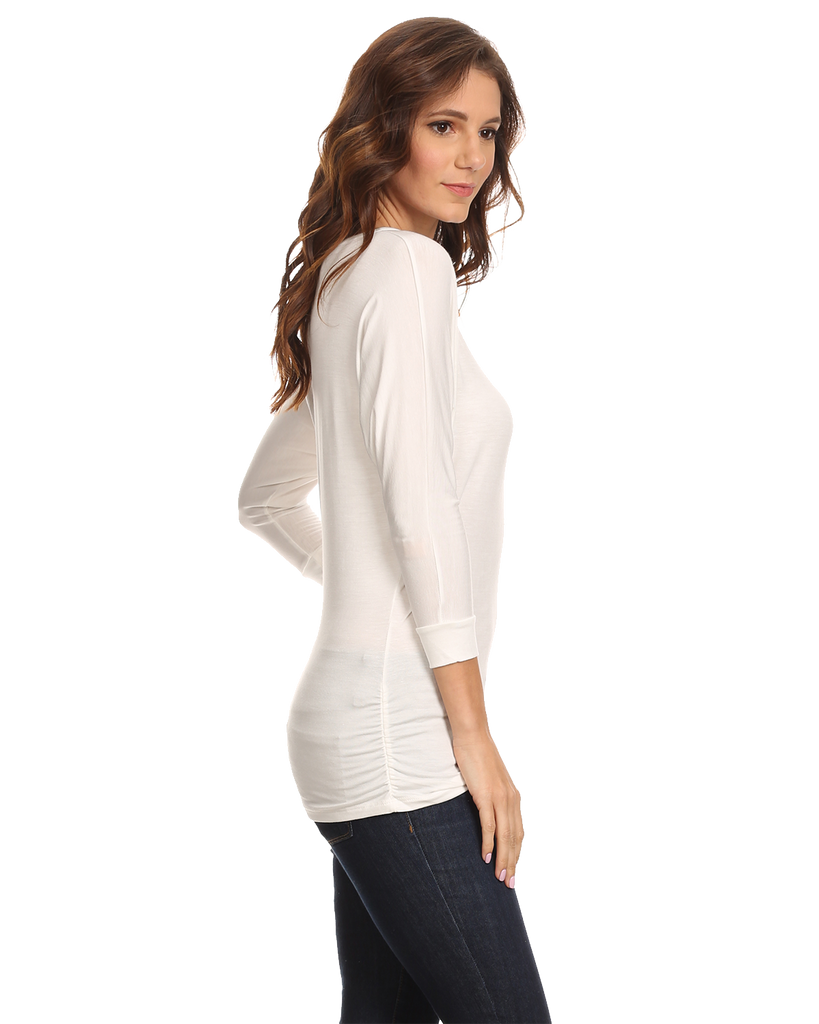 Women's Long Sleeve Shirt With Side Shirring Made in USA