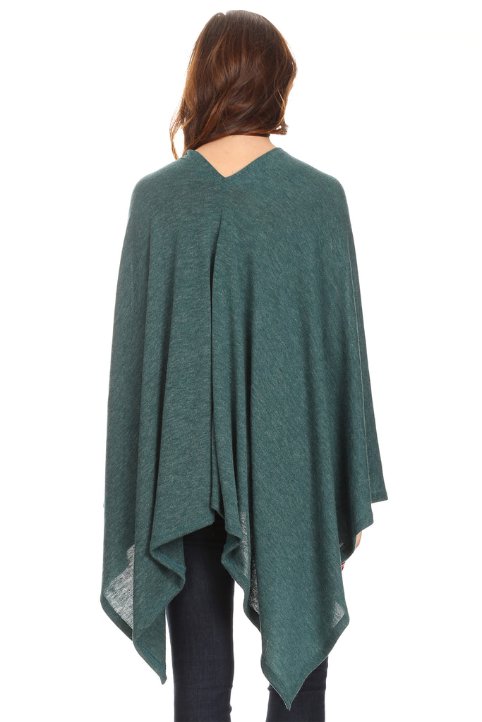 Sharon's Outlet Women's Solid Knit Short Wrap Poncho Topper Made in USA