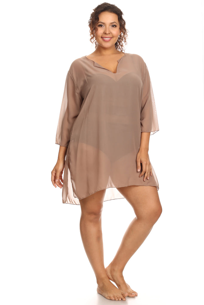 Plus Size Chiffon Long Sleeve Swimwear Cover-up Beach Dress Made in the USA