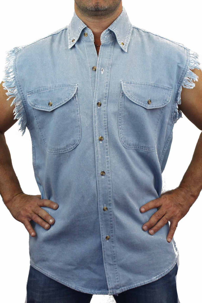Men's Sleeveless Denim Shirt Redneck Zombie Hunter