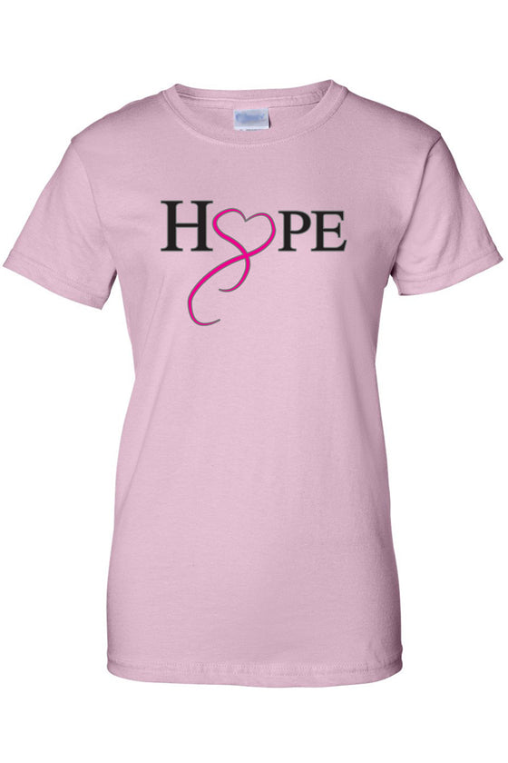 Women's Juniors T Shirt breast cancer awareness Hope & Love