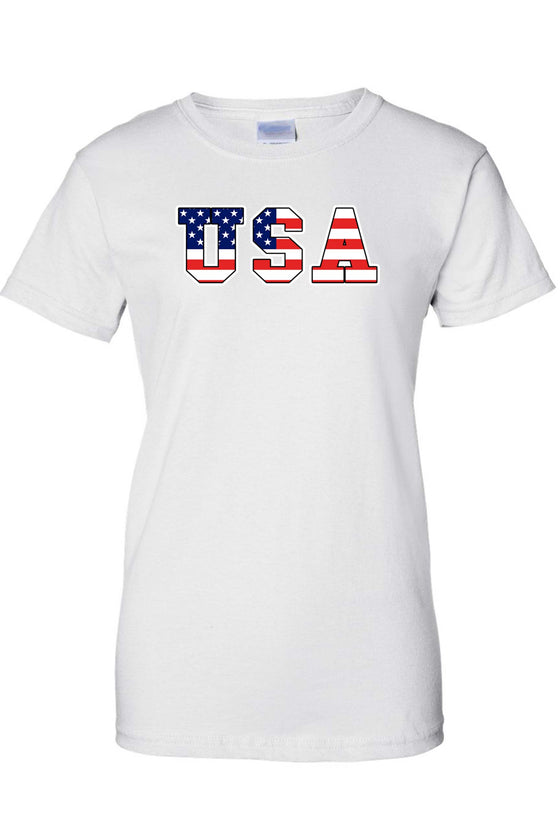 Women's USA Flag Juniors T-Shirt Stars & Stripes Pride