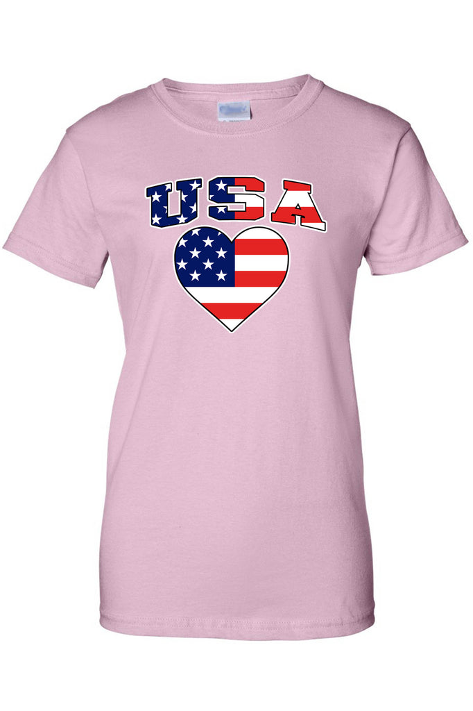 USA Flag T Shirt Pride w/ Heart Women's Juniors Tee