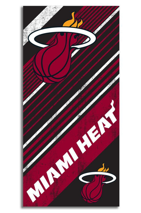 "Licensed Miami Heat Official NBA Bath Beach Towel 30""x60"" Towel SHORE TRENDZ BLACK"