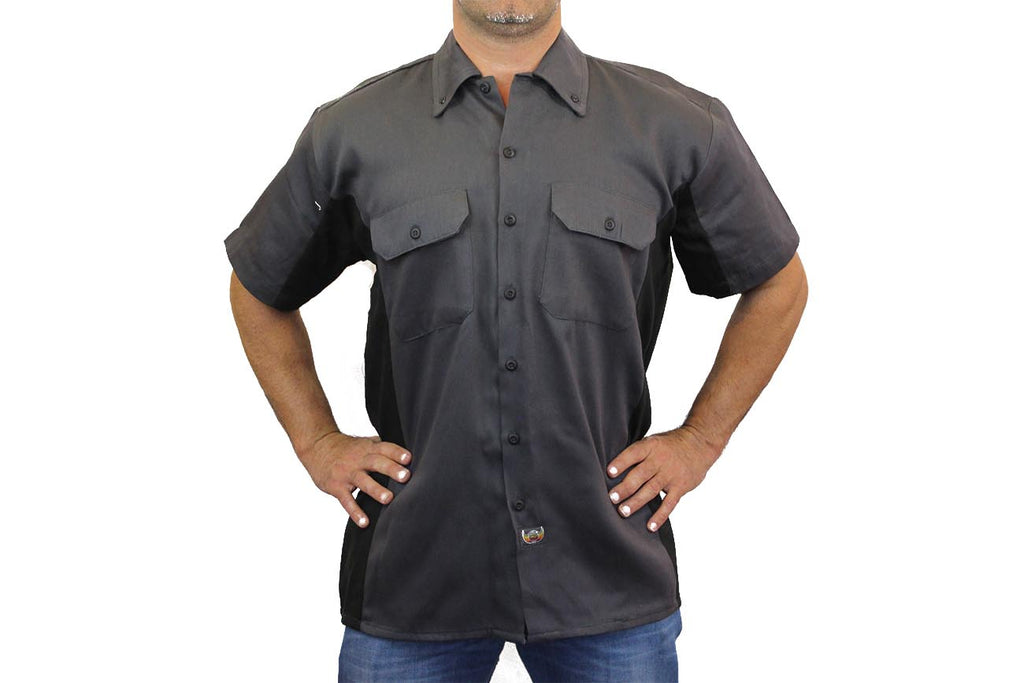 Men's Mechanic Work Shirt White Flame Skull Shut Up & Ride