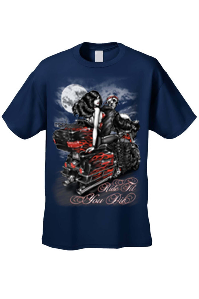 Men's/Unisex Ride Til You Die BIker Style Short Sleeve T-shirt Mens T-Shirts SHORE TRENDZ NAVY 3XL