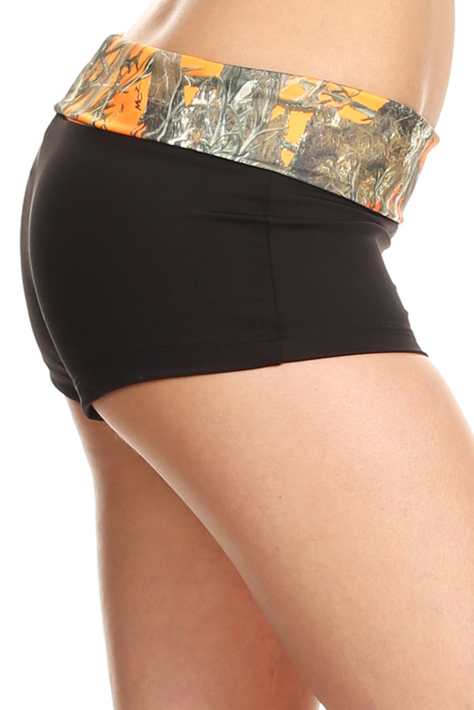 Women's Camo Booty Shorts Authentic True Timber Waistband Made in the USA