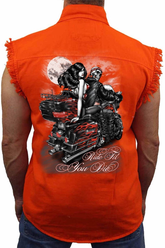 Men's Sleevless Denim Shirt Ride Till You Die Sleeveless Denim SHORE TRENDZ Orange 3X