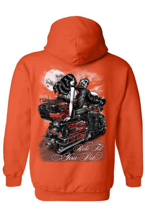 Men's/Unisex Zip-Up Hoodie Ride Til You DIE Biker Grim Reaper Mens Zip Up Hoodies SHORE TRENDZ ORANGE 4XL