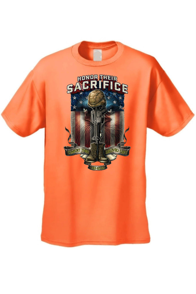 Men's/Unisex T Shirt Honor Their Sacrifice Short Sleeve Tee Mens T-Shirts SHORE TRENDZ ORANGE 3XL