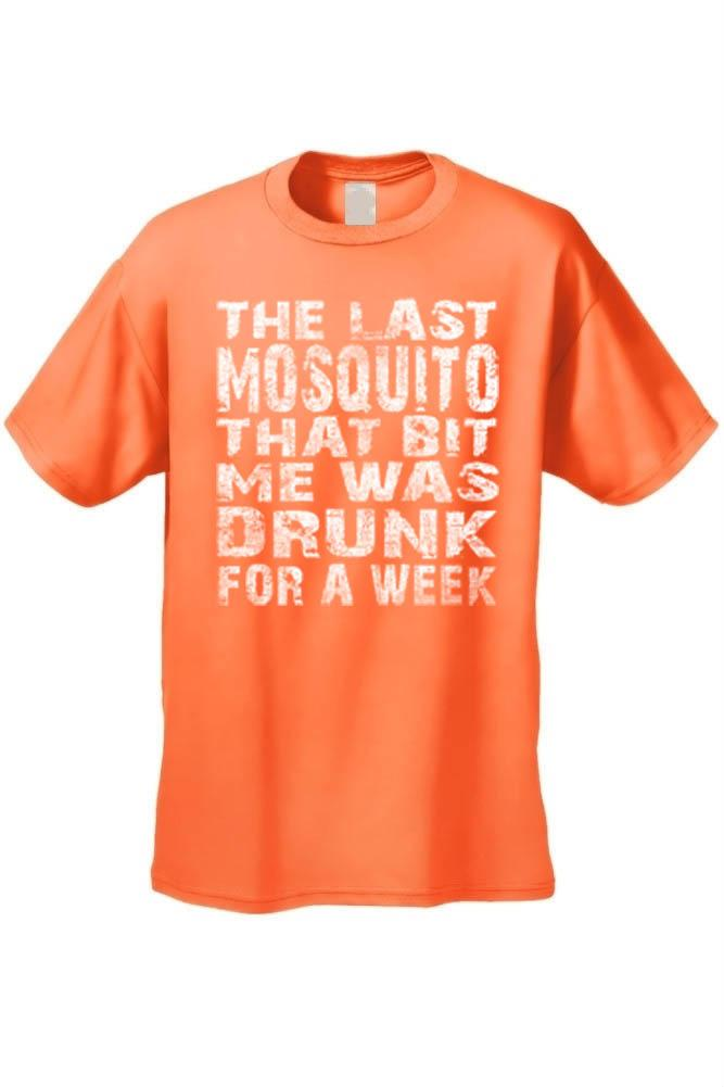 Men's The Last Mosquito That Bit Me Was Drunk For a Week T-shirt Mens T-Shirts SHORE TRENDZ ORANGE 3XL