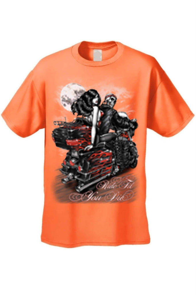 Men's/Unisex Ride Til You Die BIker Style Short Sleeve T-shirt Mens T-Shirts SHORE TRENDZ ORANGE 3XL