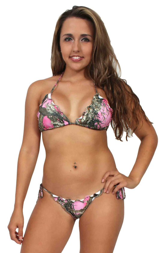 c442d9123 Women s Camo Bikini True Timber Ruffled Swimsuit  PINK Made in the USA from   23.99  48.99