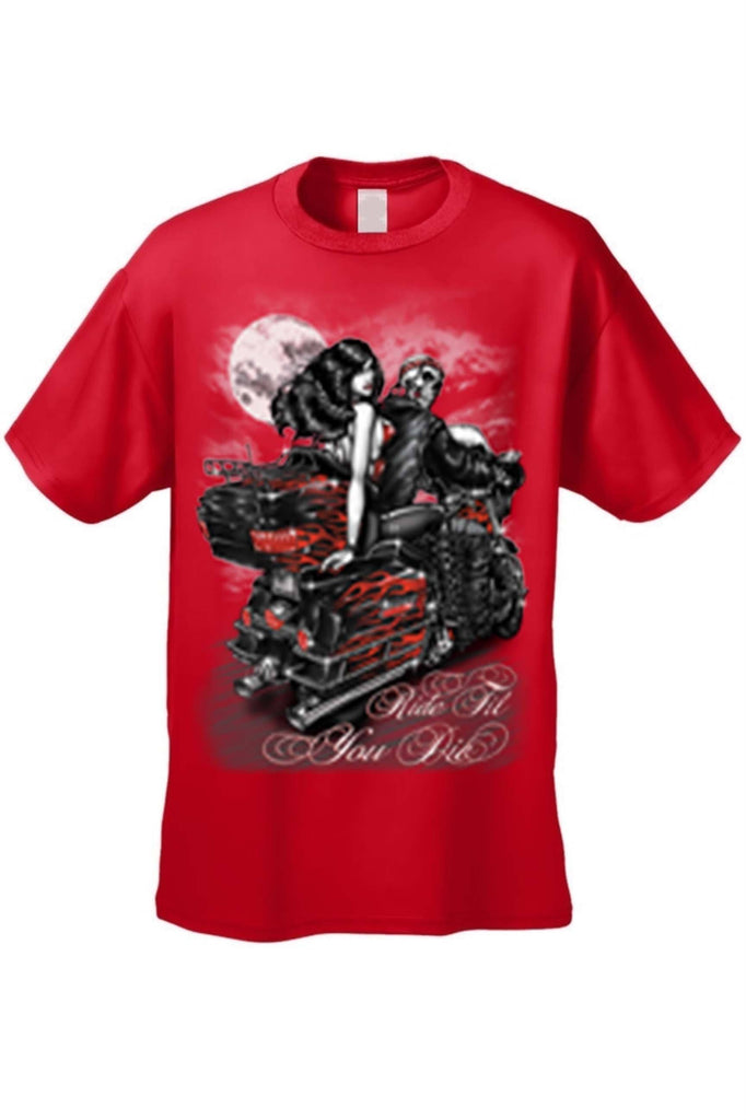 Men's/Unisex Ride Til You Die BIker Style Short Sleeve T-shirt Mens T-Shirts SHORE TRENDZ RED 3XL