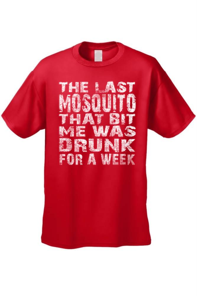 Men's The Last Mosquito That Bit Me Was Drunk For a Week T-shirt Mens T-Shirts SHORE TRENDZ RED 3XL