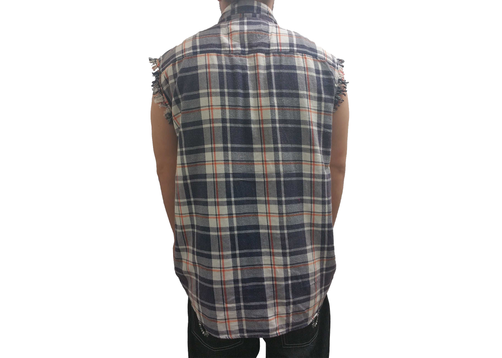 Men's Sleeveless Plaid Flannel Shirt Front Button 2 Pockets