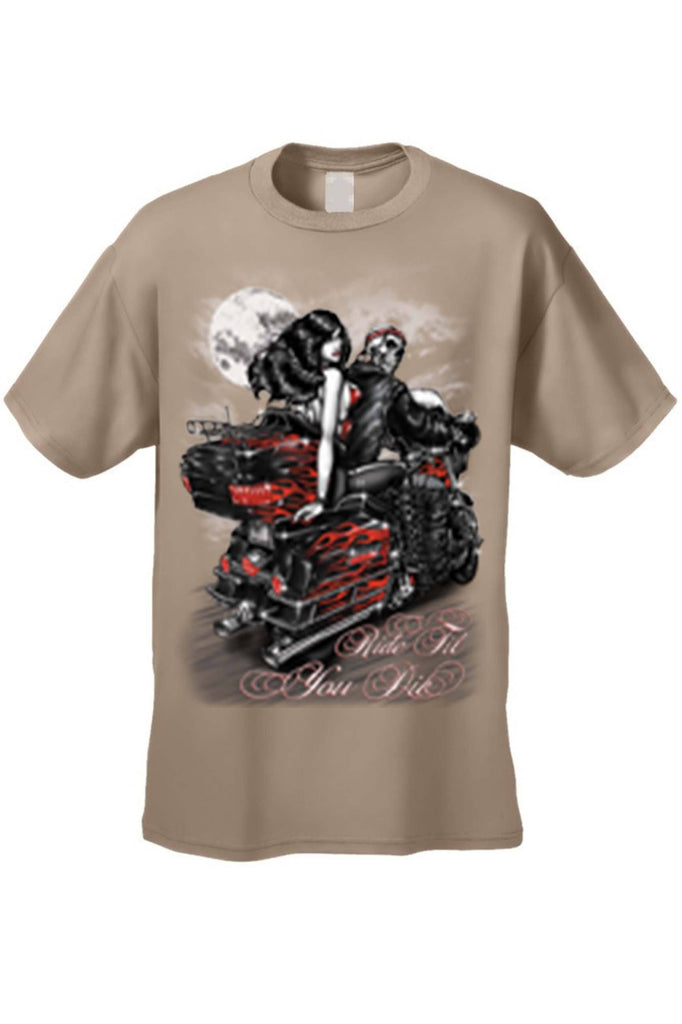 Men's/Unisex Ride Til You Die BIker Style Short Sleeve T-shirt Mens T-Shirts SHORE TRENDZ TAN 3XL