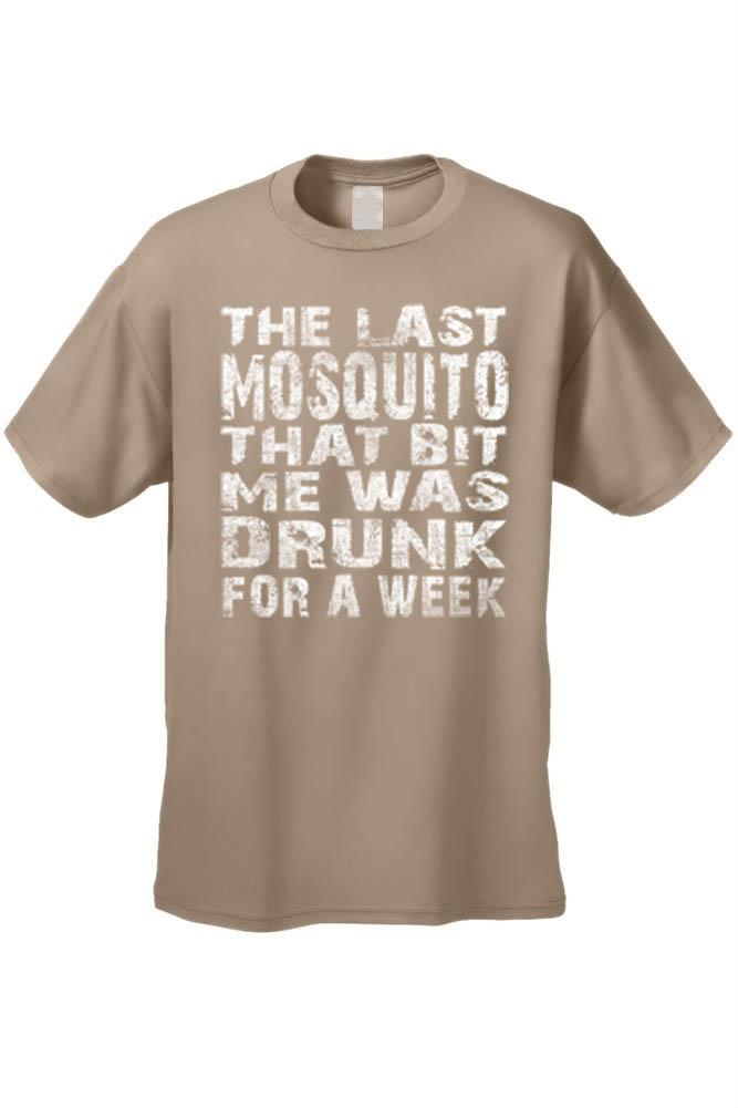 Men's The Last Mosquito That Bit Me Was Drunk For a Week T-shirt Mens T-Shirts SHORE TRENDZ TAN 3XL