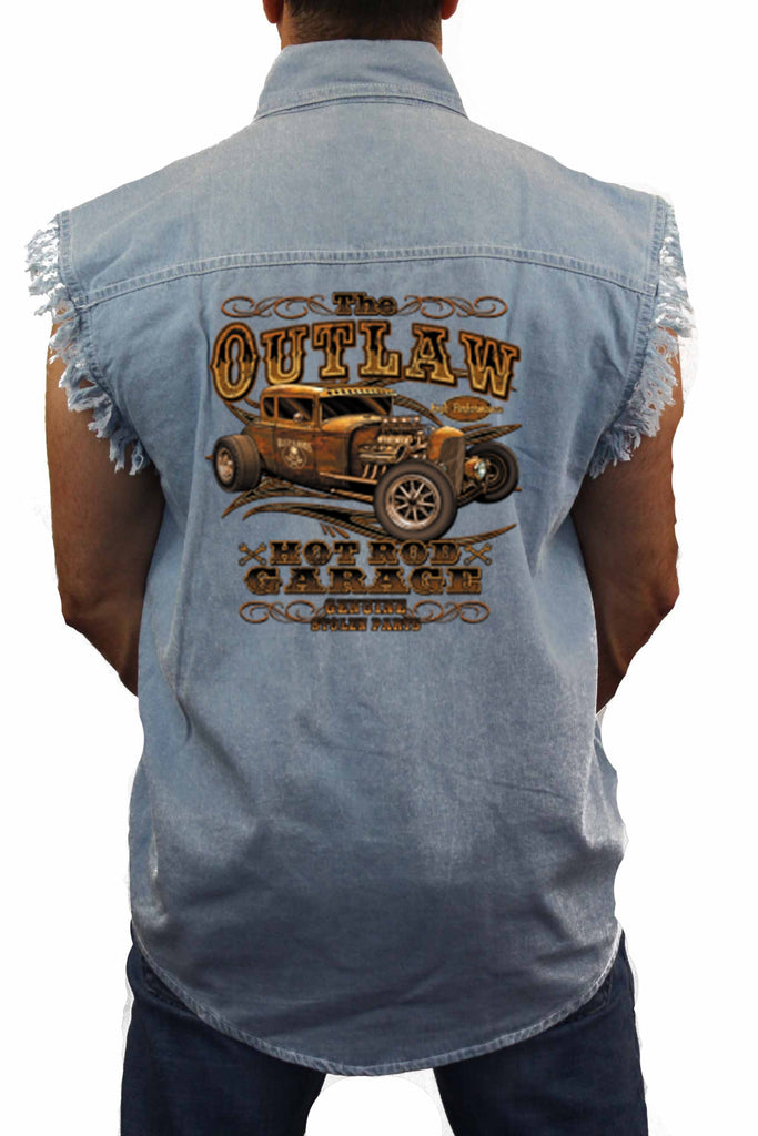 "Sleeveless Denim Shirt ""Outlaw Hotrod Garage"""